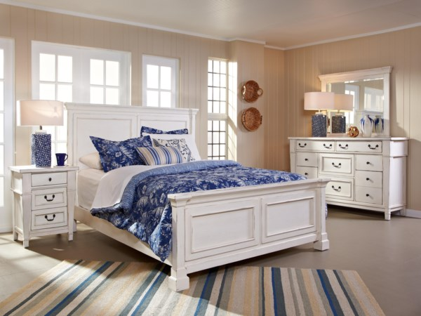 Queen Panel Bed, Dresser, Mirror & Nightstan