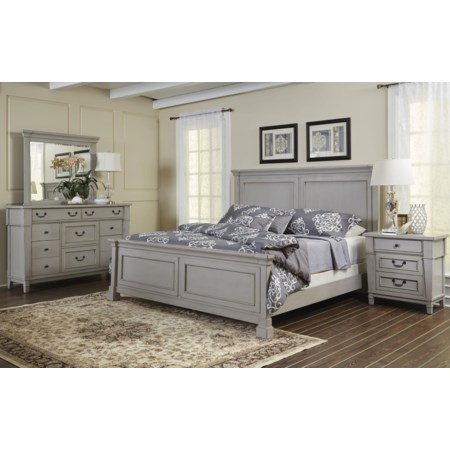 Queen Panel Bed Dresser, Mirror, 3 DWR Night