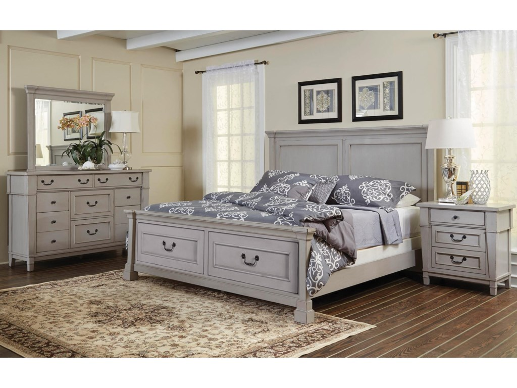 Folio 21 Stone HarborQueen Panel Storage Bed Dresser, Mirror, 3 D