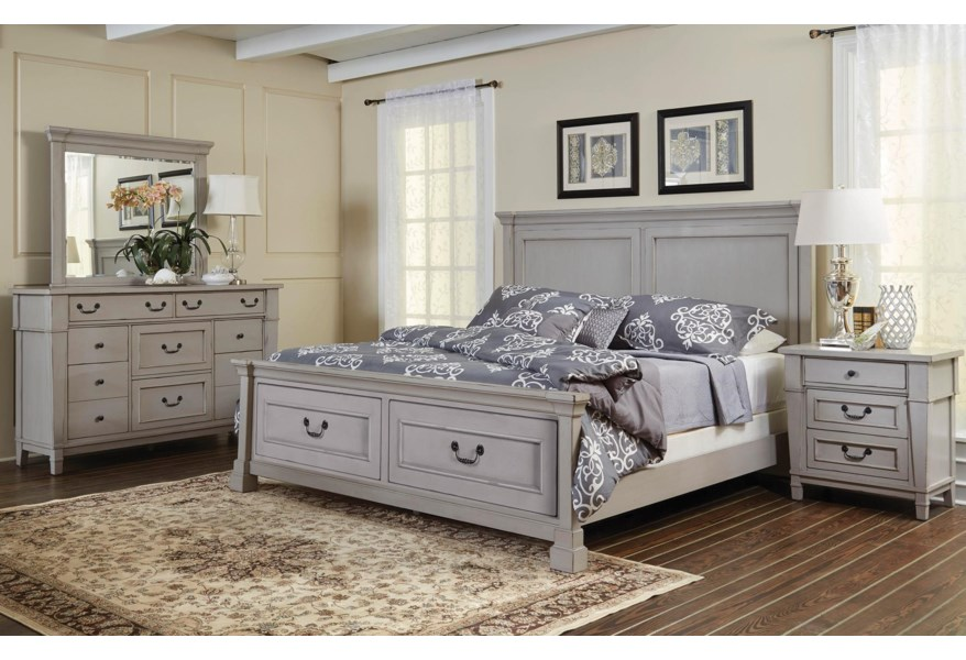 Folio 21 Stone Harbor King Panel Storage Bed Dresser Mirror 3 Dwr Nightstand Johnny Janosik Bedroom Groups
