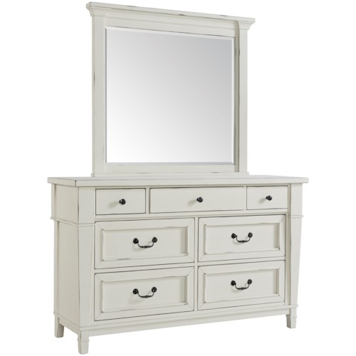 Folio 21 Stoney Creek Youth Cottage Style Dresser Mirror In Antique White Finish Boulevard Home Furnishings Sets