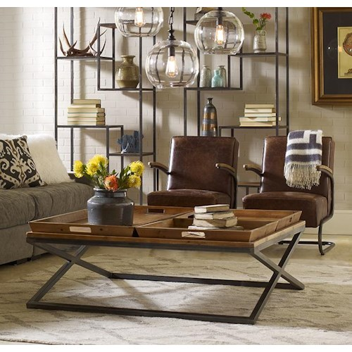 Four Hands Irondale Jax Square Coffee Table with Tray-Style Top