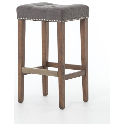 Four Hands Ashford Sean Bicast Leather Barstool w/ Kickplate