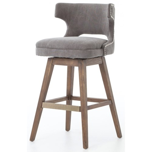 Four Hands Ashford Task Barstool With Swivel Base And Dark