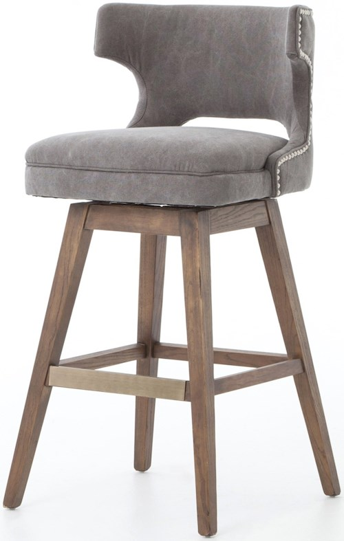 Four Hands Ashford Task Barstool with Swivel Base and Dark Moon Upholstery