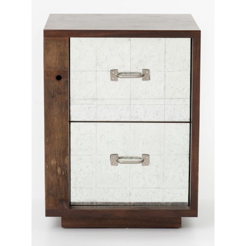 Four Hands Bina James End Table Left w/ Mirrored Drawers