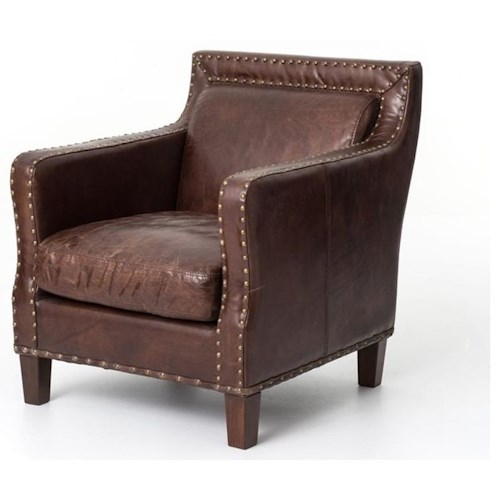 Four Hands Carnegie Alcott Club Chair with Cigar Upholstered Leather