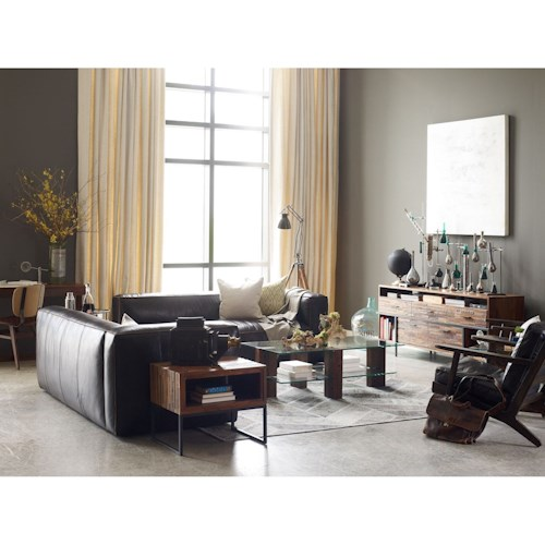 Four Hands Carnegie Nolita Sectional RAF and LAF in Old Saddle Black Upholstery