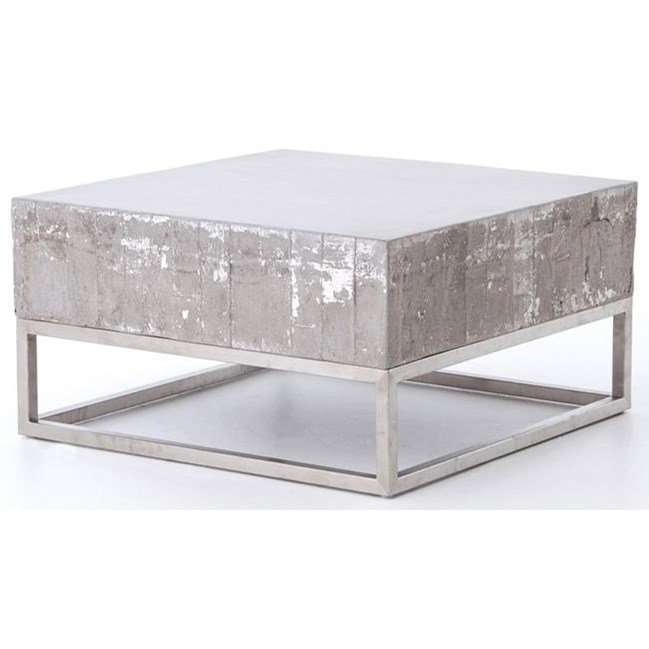 Four Hands Constantine Concrete And Chrome Coffee Table   Belfort Furniture    Cocktail Or Coffee Table