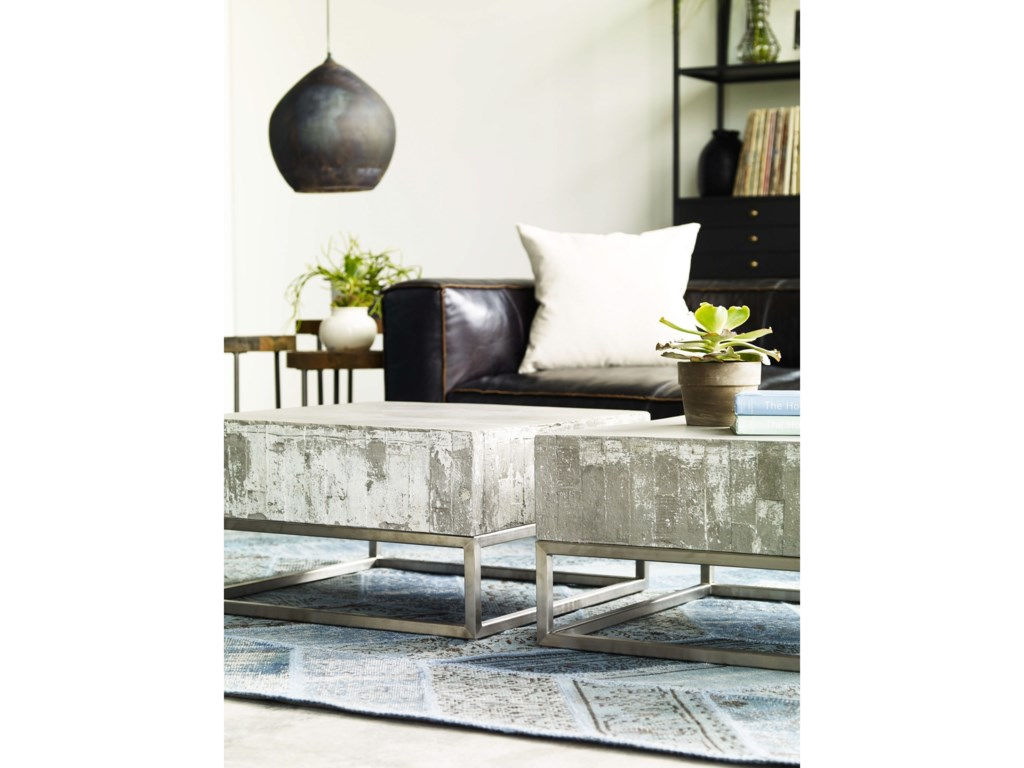 Four Hands Constantine Concrete And Chrome Coffee Table Olindes - Concrete and chrome coffee table