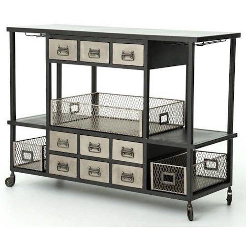 Four Hands Element Industrial Bar Cart with Black Frame and Nickel Drawers