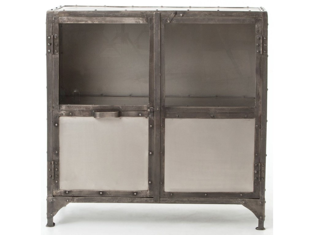 Element Iele Industrial Metal Sideboard With Glass Doors Dream