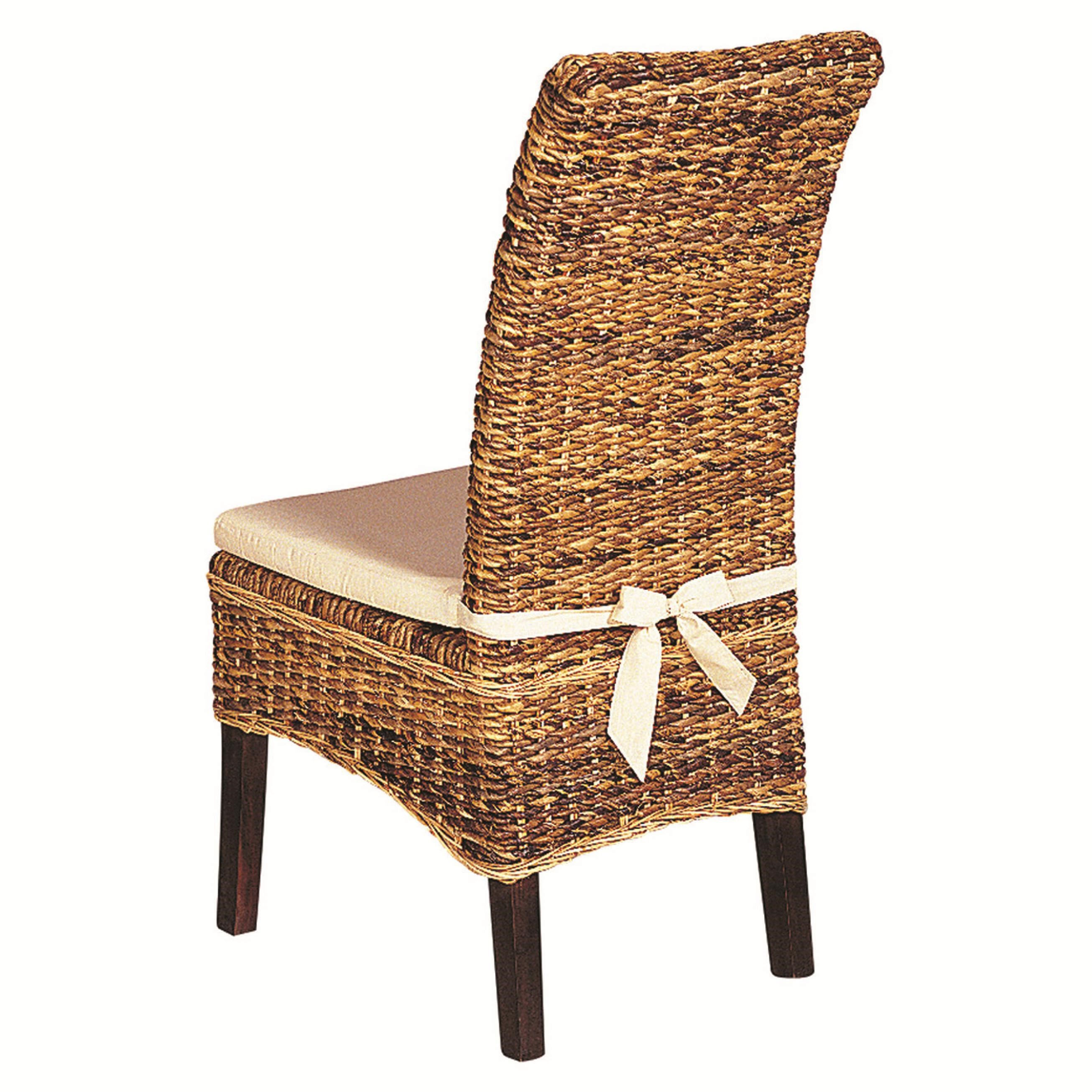 Four Hands Grass Roots Woven Banana Leaf Side Chair With Canvas Cushion    Belfort Furniture   Dining Side Chair