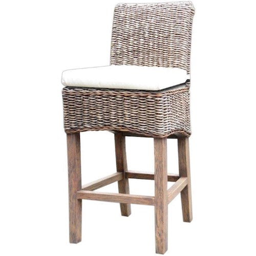 Four Hands Grass Roots Banana Leaf Counter Stool with Cushion