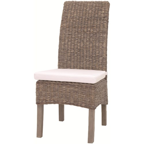 Interior Style Gr Roots Woven Banana Leaf Side Chair With Canvas Cushion