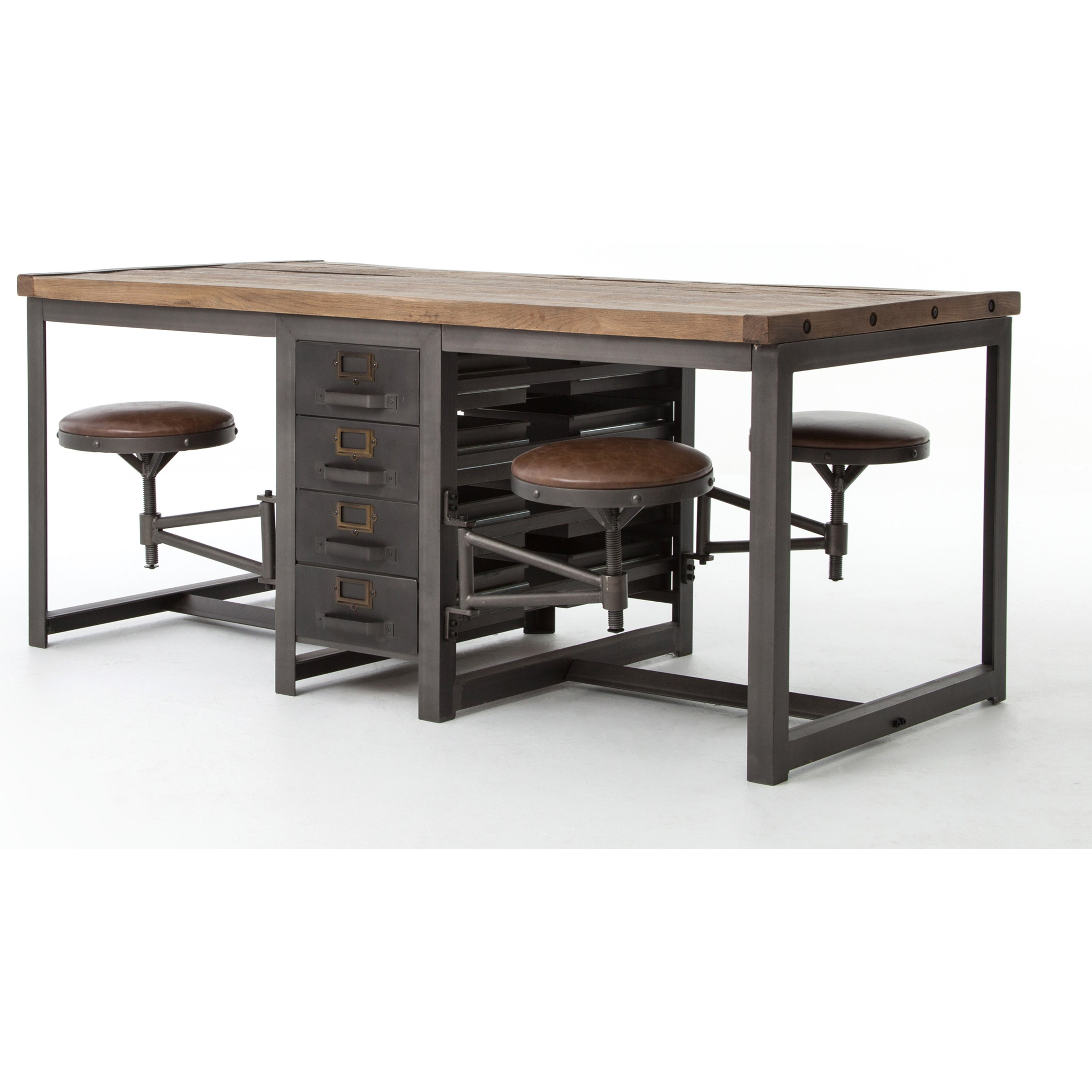 Four Hands Hughes Rupert Work Table With Brown Leather Seats. Hughes  Collection