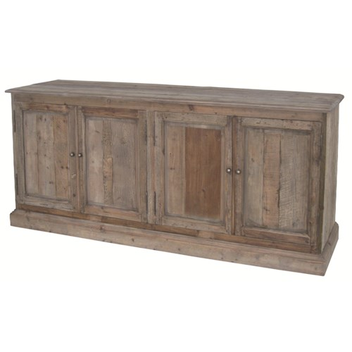 Four Hands Durham Kelly Large Serving Table with 4 Doors & Metal Knobs