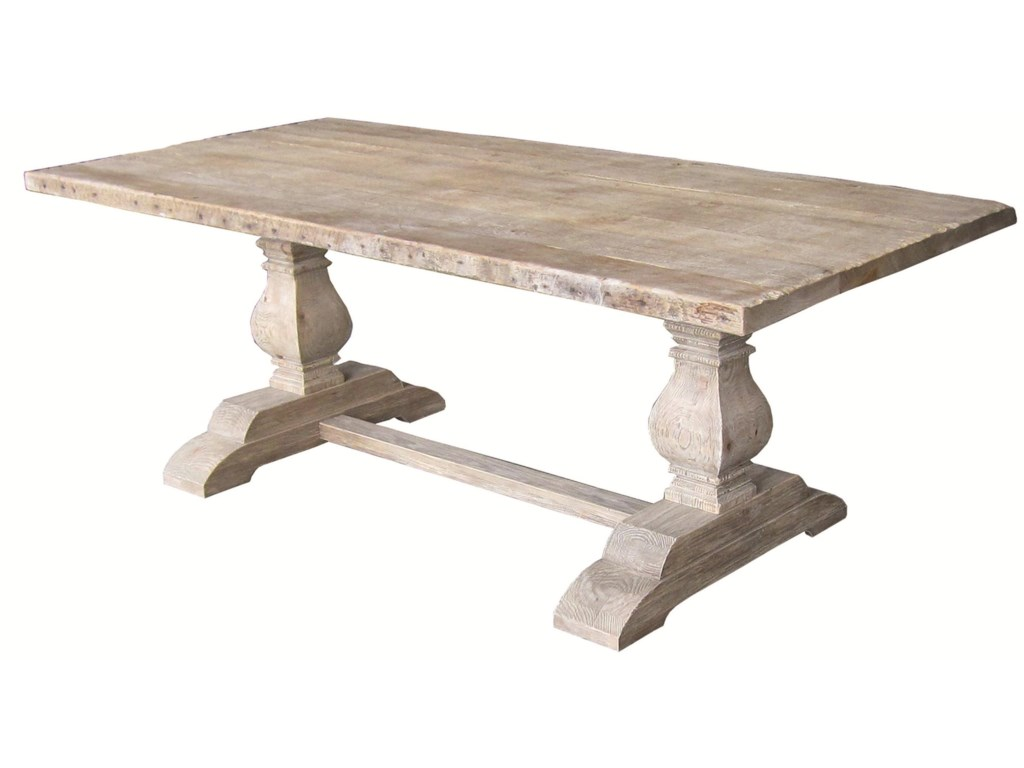Four Hands Hughes Rectangular Dining Table with Double Sculptured