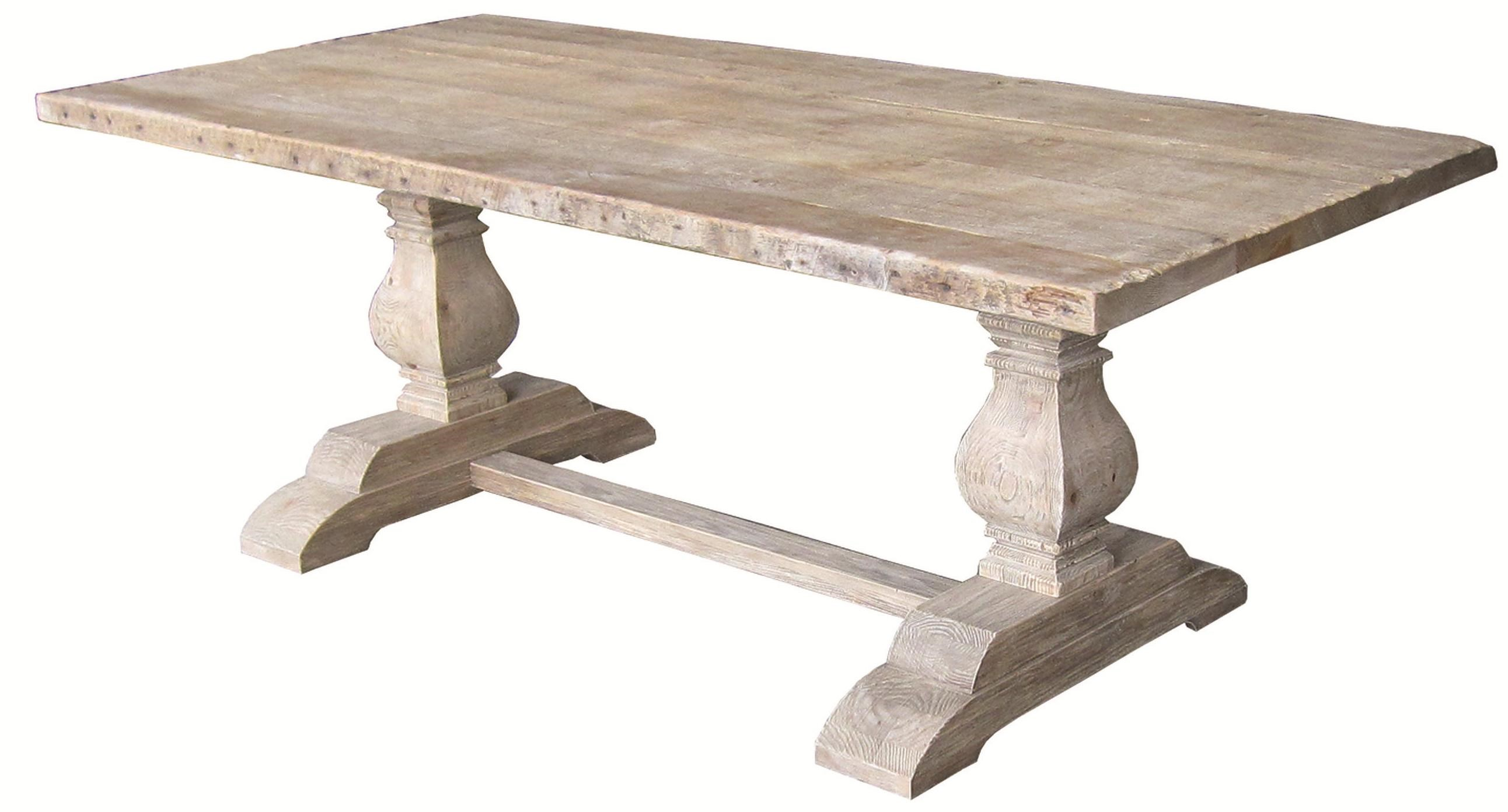 Exceptional Four Hands Hughes Rectangular Dining Table With Double Sculptured Bases