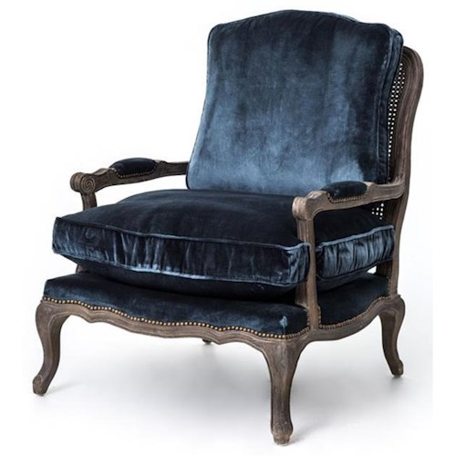 Four Hands Irondale Boutique Accent Chair with Blue Pile Fabric