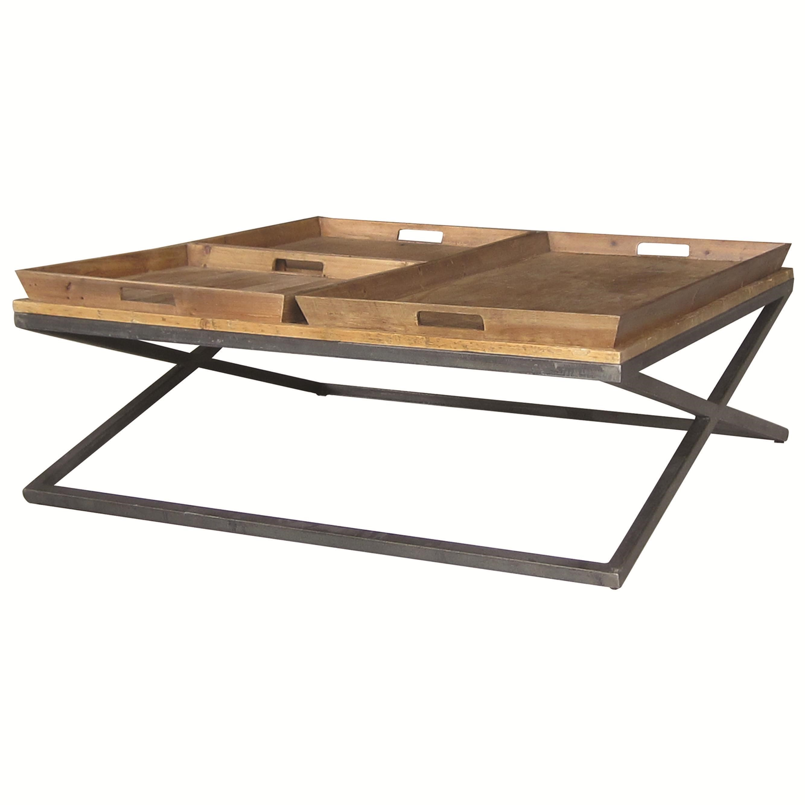 Four Hands Irondale Jax Square Coffee Table With Tray Style Top