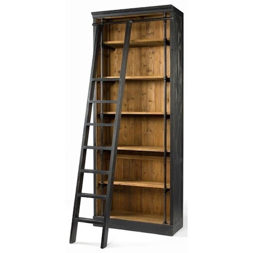 Four Hands Irondale Ivy Bookcase and Ladder with Matte Black
