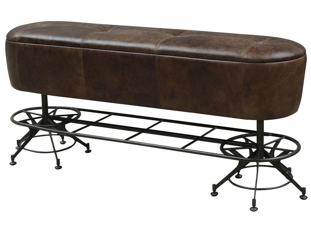 Four Hands Irondale Giles Counter Height Leather Dining Bench With  Industrial Metal Base   Olindeu0027s Furniture   Dining Benches