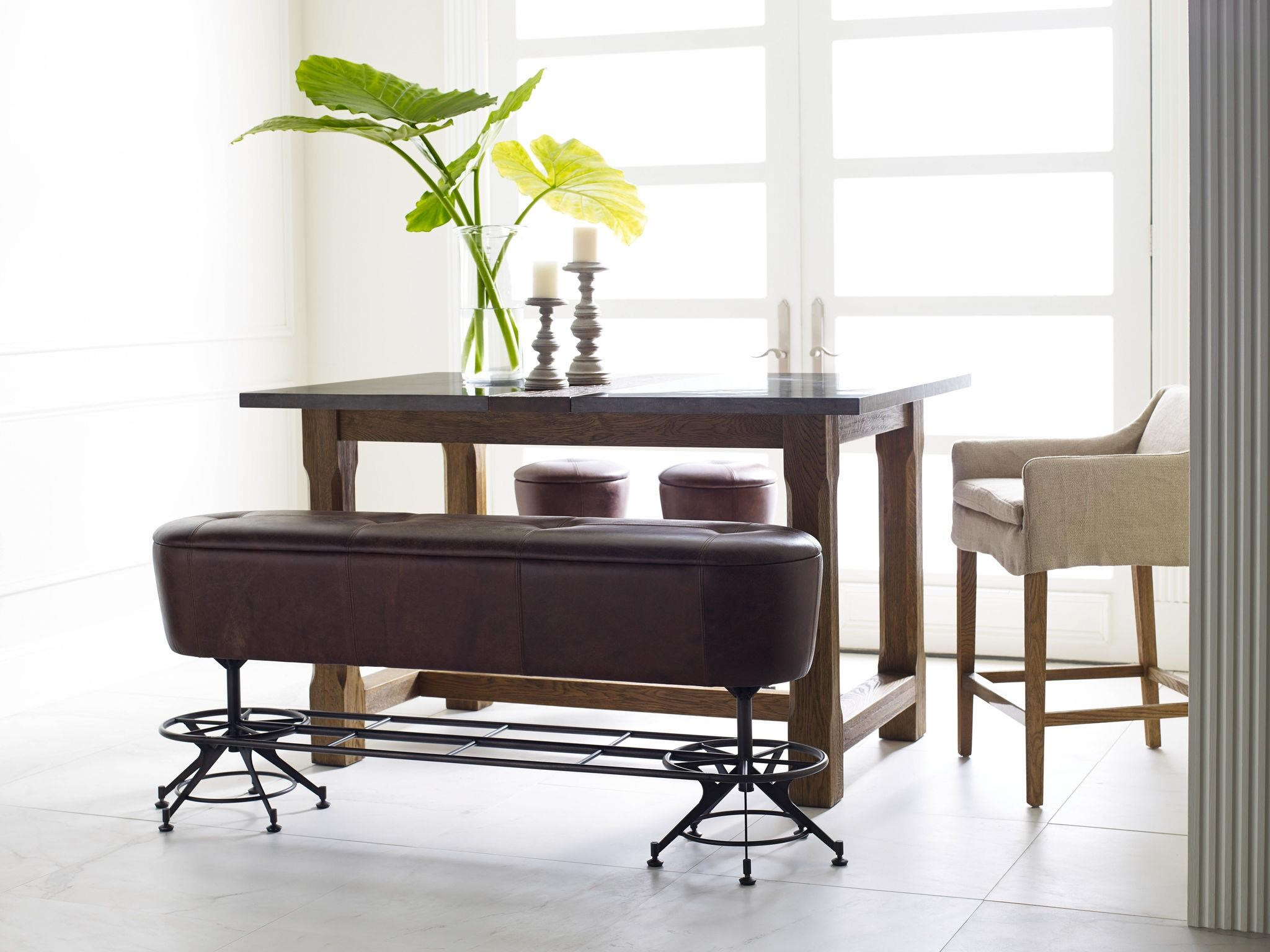 Marvelous Four Hands Irondale Giles Counter Height Leather Dining Bench With  Industrial Metal Base