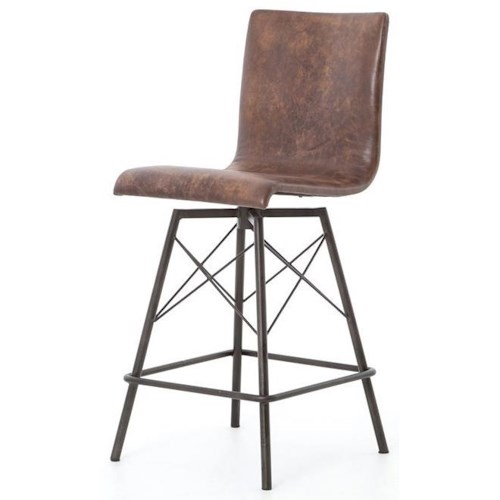 Four Hands Irondale Diaw Counter Height Stool with Havana Leather