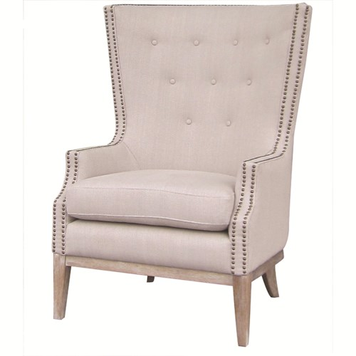 Four Hands Kensington Lillian Occasional Chair with Button Tufting and Nailhead Trim