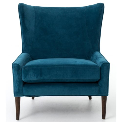 Four Hands Kensington Wing Chair with Mid-Century Modern Wood Legs