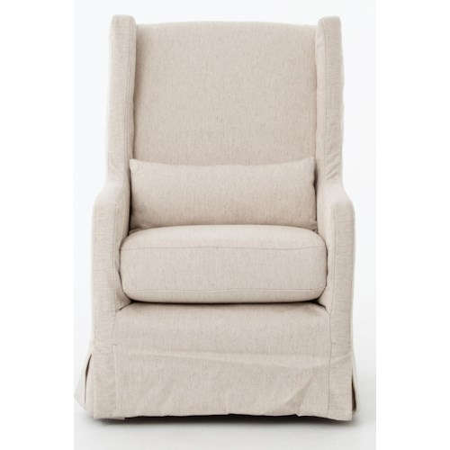 Four Hands Kensington Swivel Wing Chair with Skirt