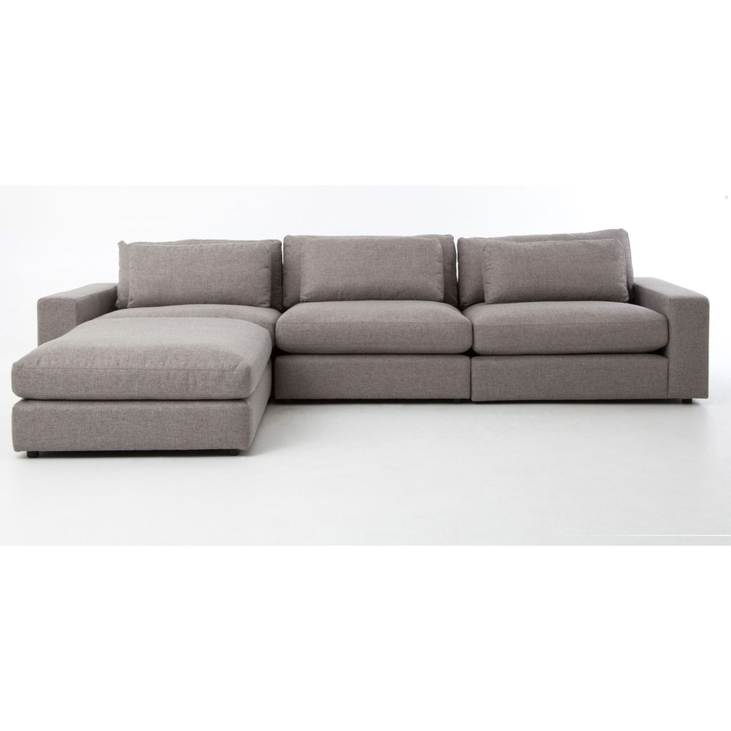 Four Hands Kensington Bloor Sofa With Ottoman In Chess Pewter Fabric