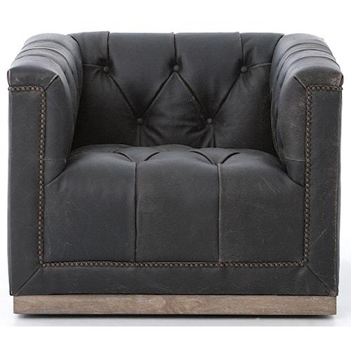 Four Hands Kensington Maxx Swivel Chair with Black Upholstery