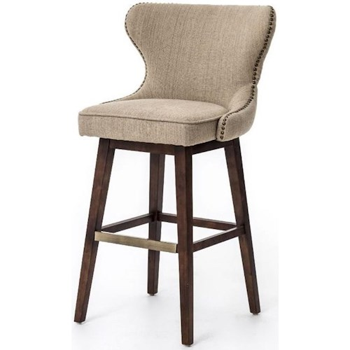 Four Hands Metro Julie Swivel Barstool with Hyde Clay Fabric