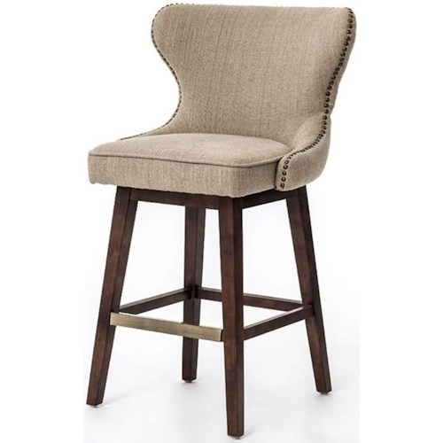 Four Hands Metro Julie Swivel Counter Height Stool with Hyde Clay Fabric