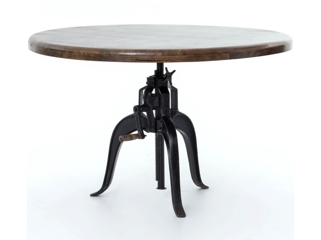 Four hands rockwell adjustable round dining table with cast iron four hands rockwelladjustable round dining table workwithnaturefo