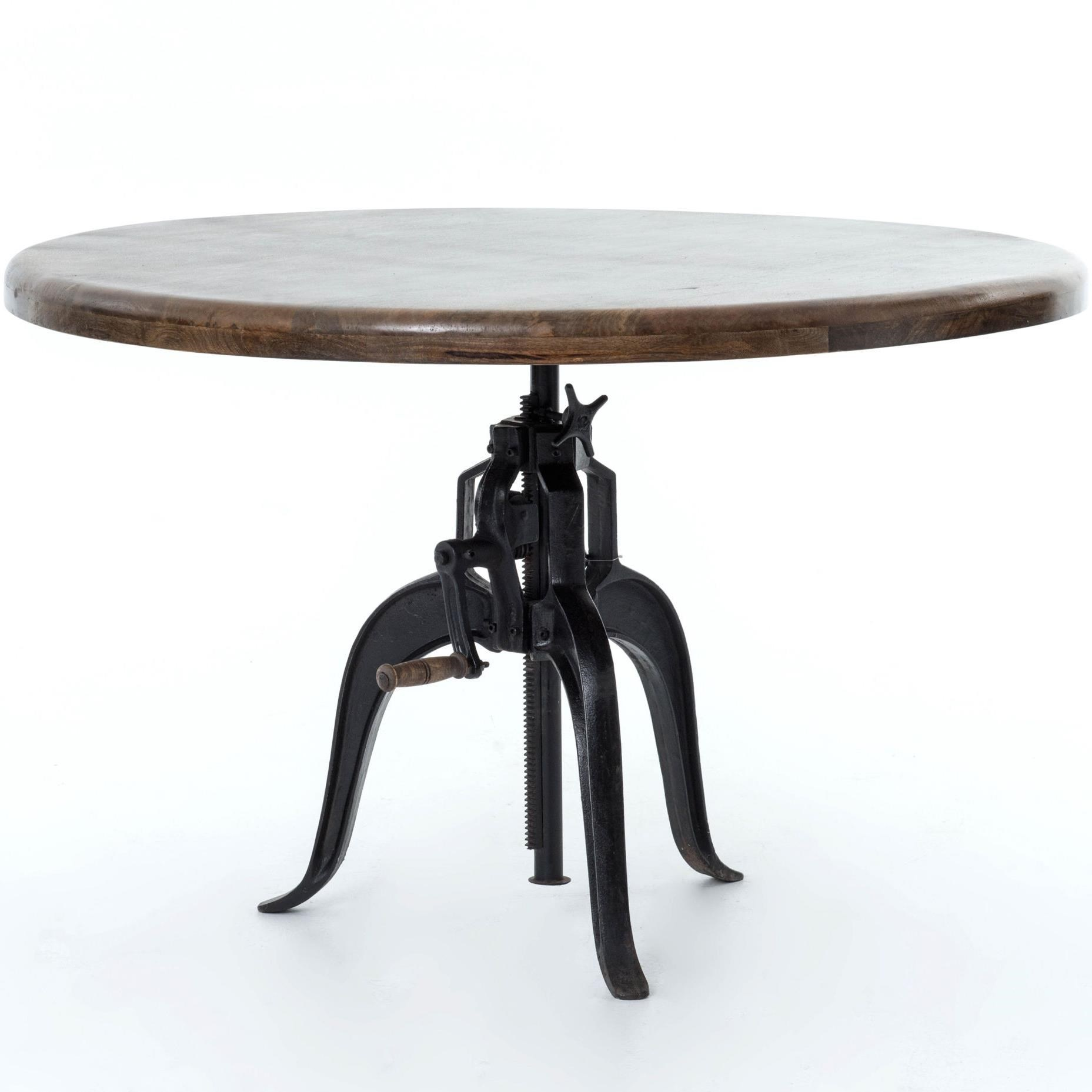 four hands rockwell adjustable round dining table with cast iron base   belfort furniture   kitchen tables four hands rockwell adjustable round dining table with cast iron      rh   belfortfurniture com