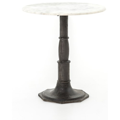 Four Hands Rockwell Lucy Side Table-Carbon Wash, Marble Top