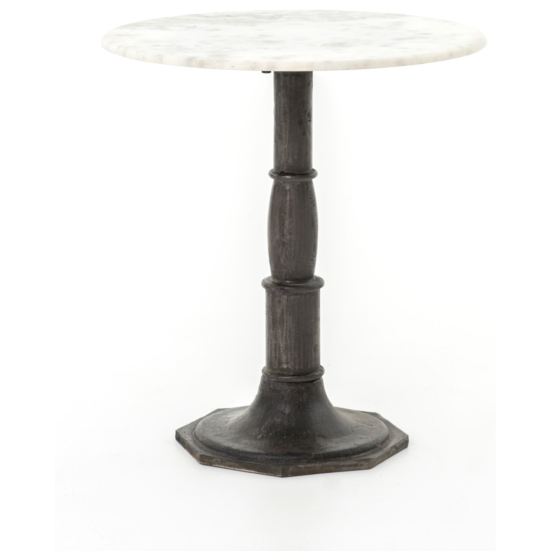 Four Hands Rockwell Lucy Side Table Carbon Wash, Marble Top