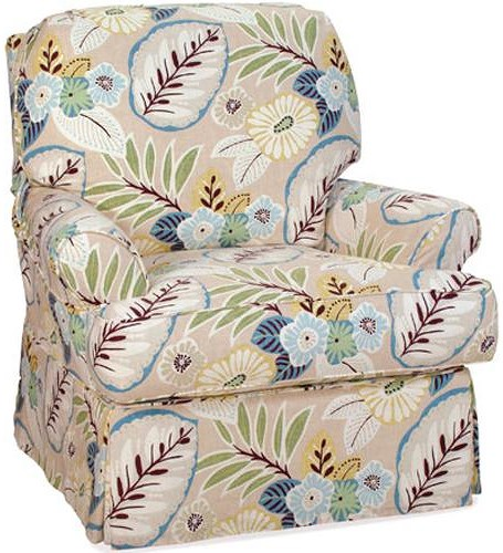 Four Seasons Furniture Accent Chairs Transitional Claire Swivel Glider Chair with Skirt