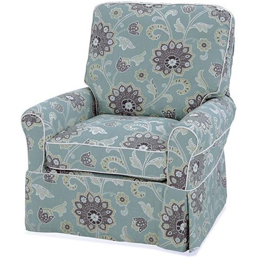 Four Seasons Furniture Accent Chairs Transitional Extra Large Liza Swivel Glider Chair with Welting Detail
