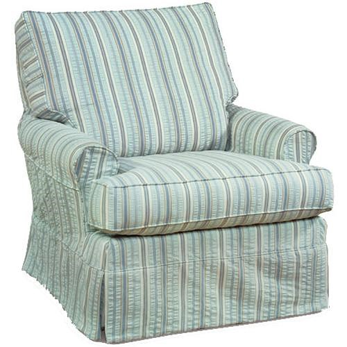 Four Seasons Furniture Accent Chairs Transitional Sarah Swivel Glider Chair with Pleated Skirt