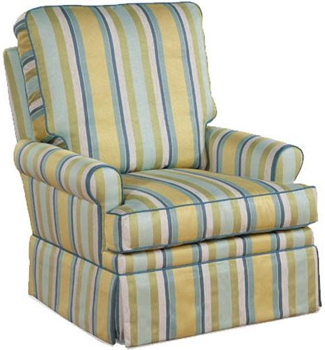 Four Seasons Furniture Accent Chairs Transitional Aiden Fully Upholstered Swivel Glider Chair with Rolled Arms