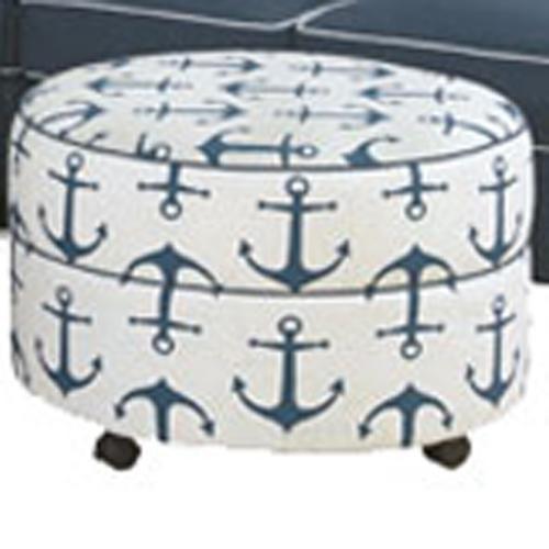 Four Seasons Furniture Alexandria Casual Round Ottoman with Block Feet