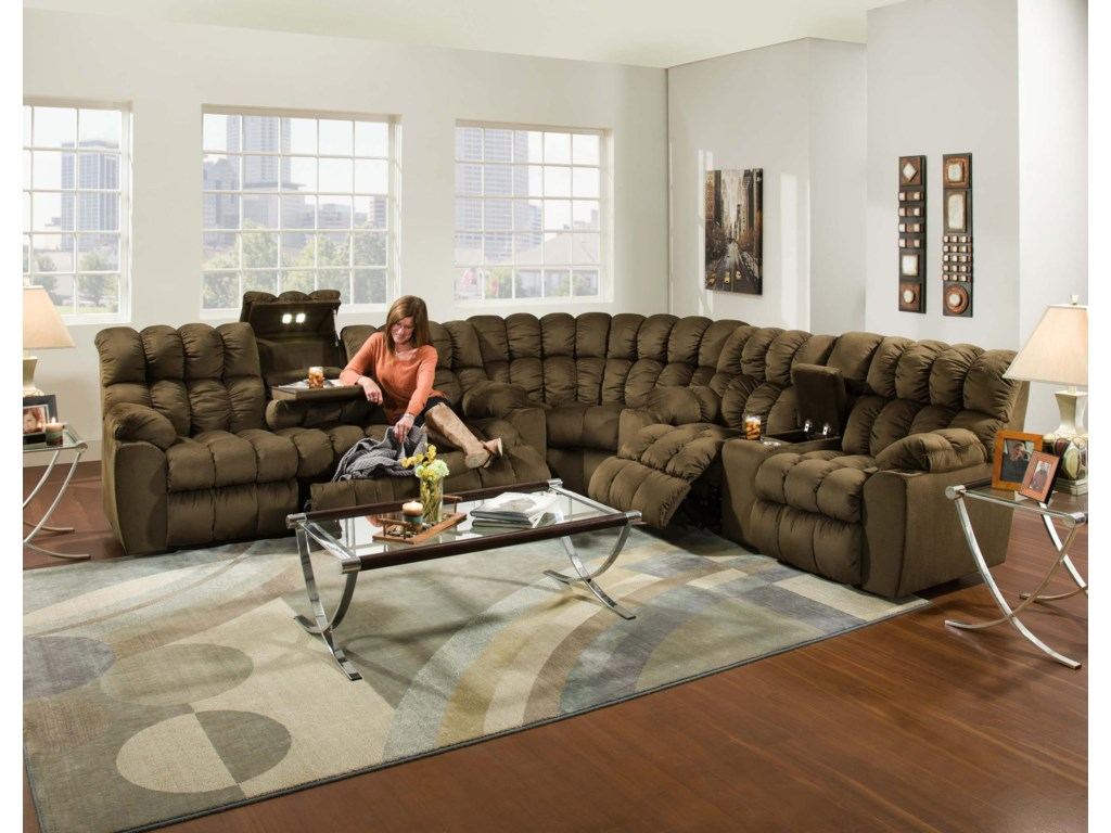 Franklin BraydenReclining Sofa with Table, Lights & Storage