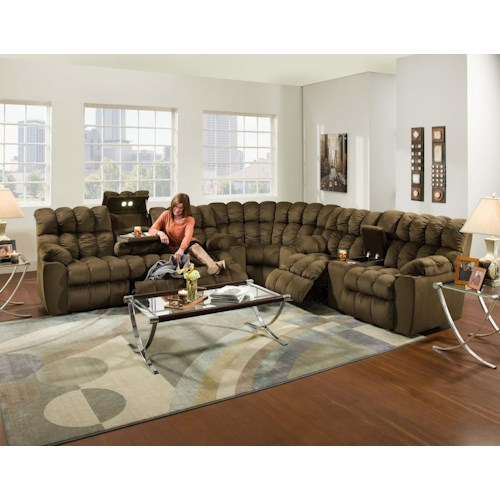 Franklin Brayden Casual Styled Reclining Sectional Sofa