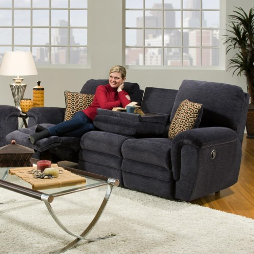 Casual Double Reclining Sofa With Drop Down Console 463 By