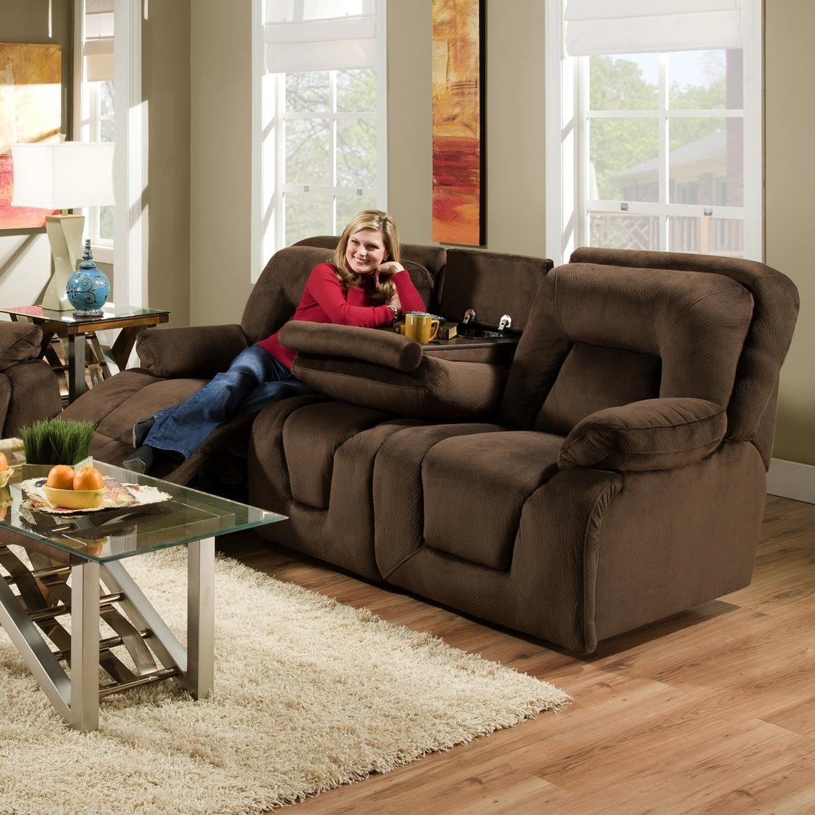 Franklin 473 Double Reclining Sofa With Drop Down Table For Casual Family  Room Style