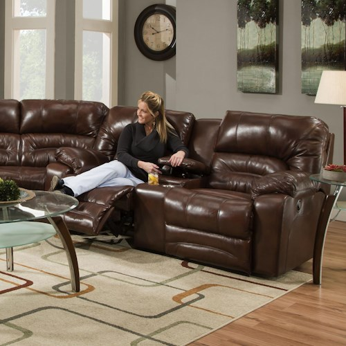 Franklin Legacy Power Reclining Console Loveseat with Cup-Holders and Integrated USB Port